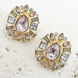 Peach tone jeweled Statement Earrings